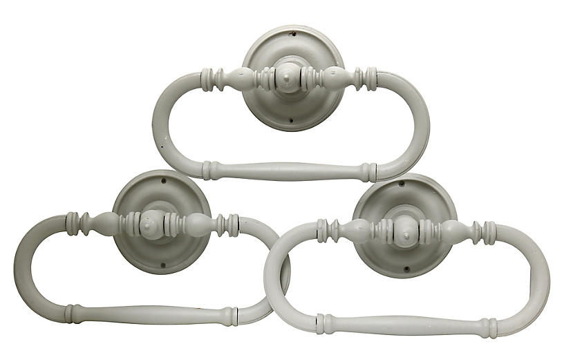 Antique French Hotel Towel Bars, S/3