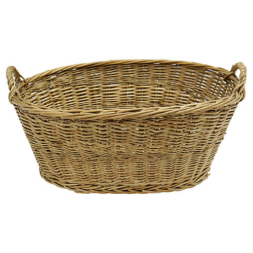 Midcentury French Wicker Basket
