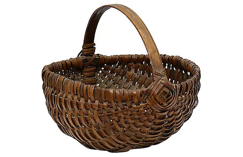 19th-C. New England Handwoven Basket
