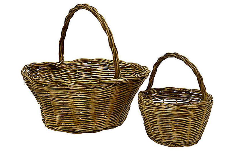 19th-C. French Cherry Orchard Baskets Pr