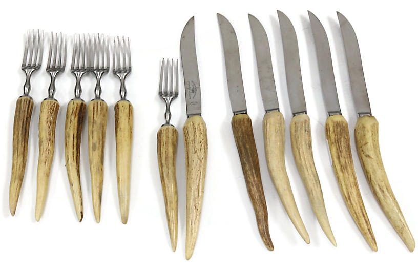 Midcentury Horn Handle Cutlery Set, 12pc