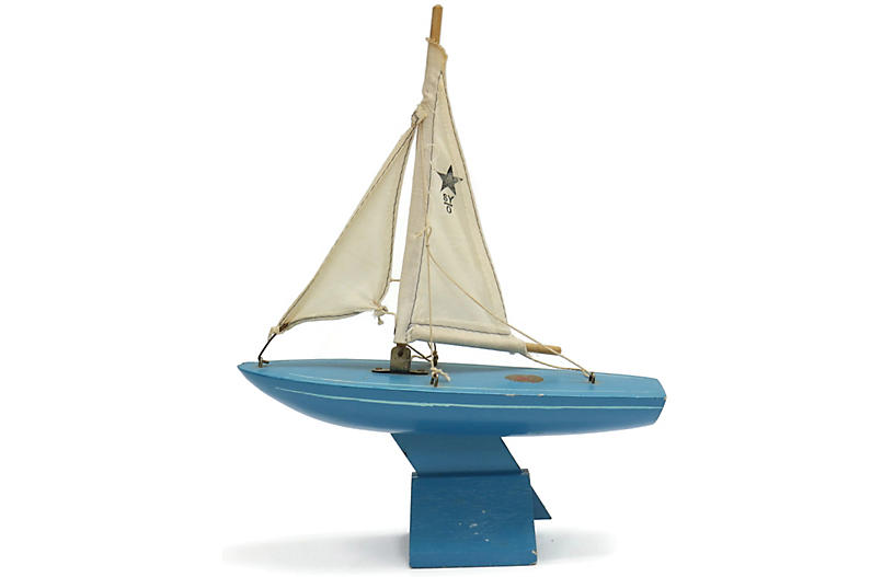 Mid-Century English Pond Boat w/Stand