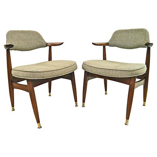 1950s Atomic Armchairs w/ Linen, Pair