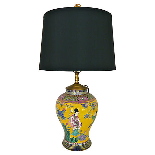 Foo Dog Famille Jaune Lamp