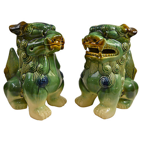 Oversize Hand Glazed Majolica Foo Dogs