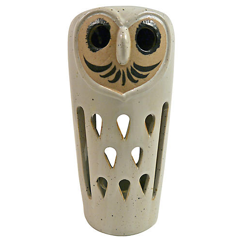 1960s Ceramic Owl Candle Lamp