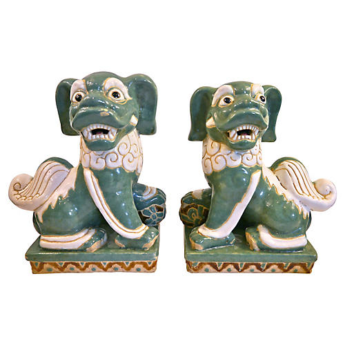 Oversize Seafoam Green Foo Dogs, Pair