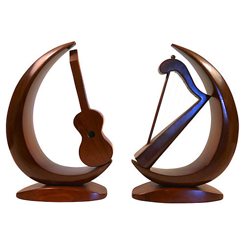 Carved Instrument Bookends