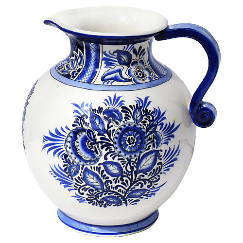 Blue & White Water Pitcher