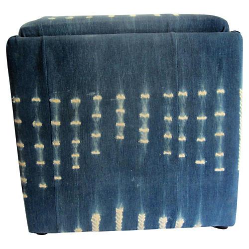 Indigo Mud-Cloth Upholstered Cube