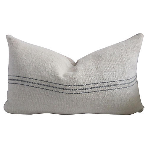 Blue Striped French Linen Pillow