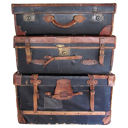 19th-C. English Leather Luggage, S/3