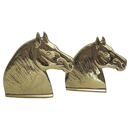 Solid Brass Horse Bookends, S/2