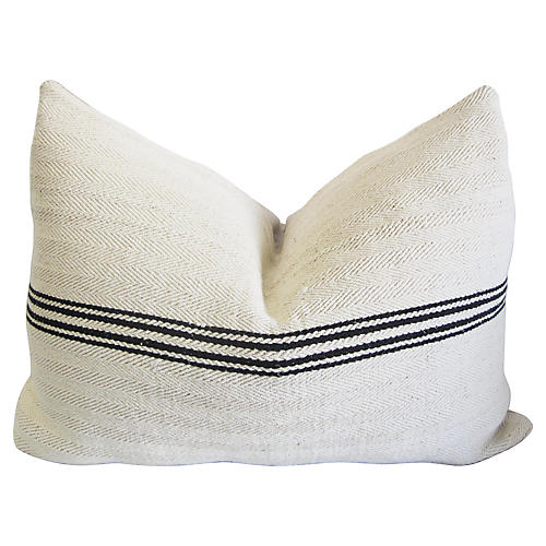 French Striped Linen Onyx Pillow