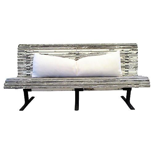 Antique French Wood-Slat Bench