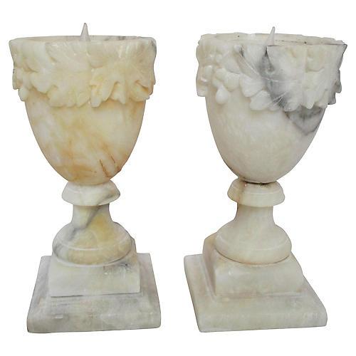 1930s Italian Alabaster Lamps, S/2