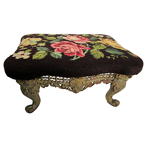19th-C. French Needlepoint Footstool