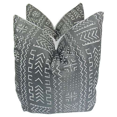 Embroidered Tribal Linen Pillows, S/2