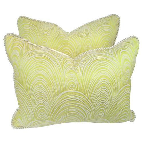 Mid-Century Yellow Festoon Pillows S/2