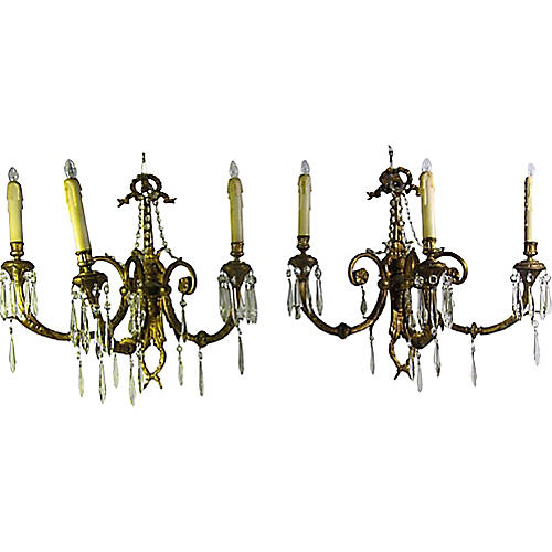 French Brass & Crystal Sconces, Pair