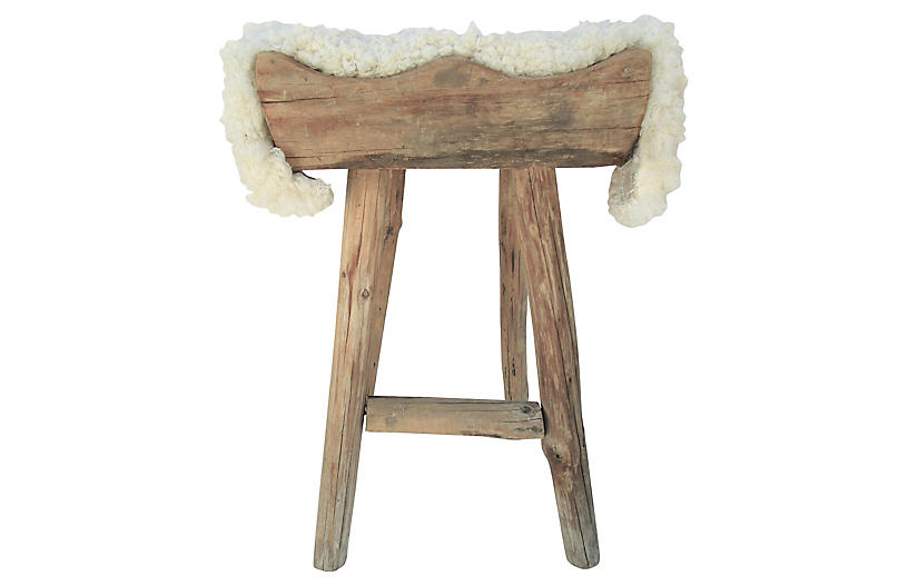 Superb Shandong Wood Stool W Wool Seat Topper Furniture Machost Co Dining Chair Design Ideas Machostcouk