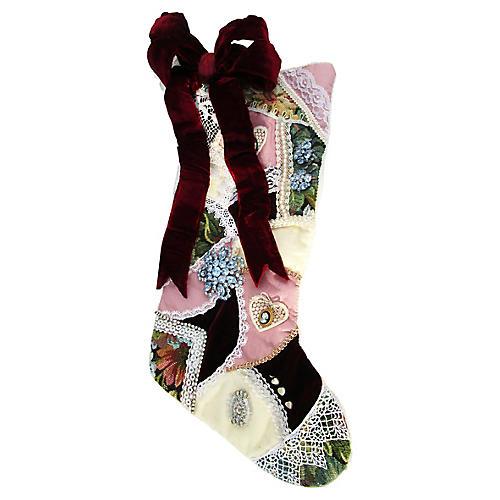 Jeweled Velvet Christmas Stocking