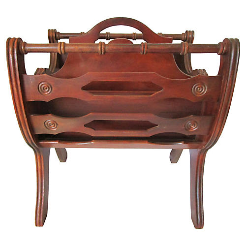 English Carved Magazine Rack
