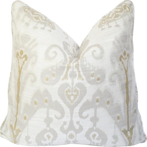 Off-White Ikat Linen Pillow