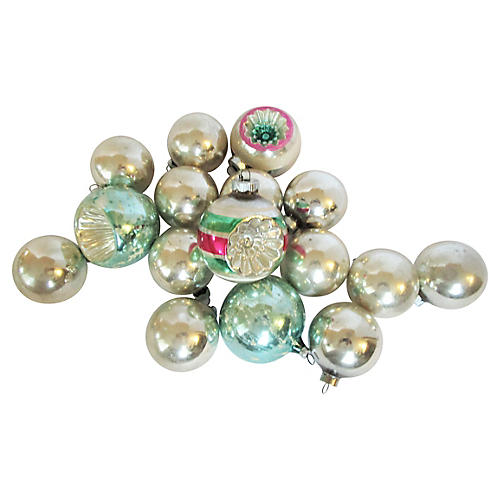 1960's Glass Christmas Ornaments S/16