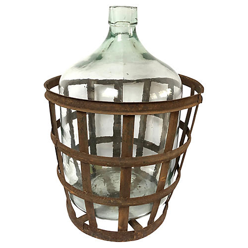 Antique European Demijohn w/ Basket