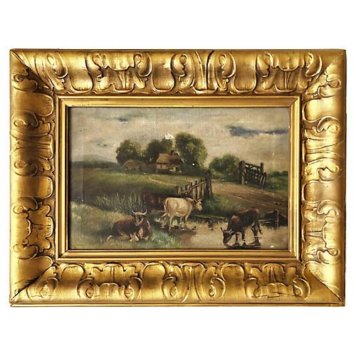 Landscape Grazing Cattle Oil