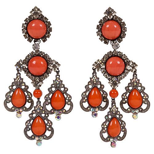Vrba Coral Rhinestone Drop Earrings