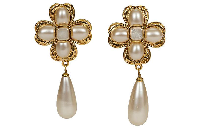 Chanel Clover Flower Pearl Earrings