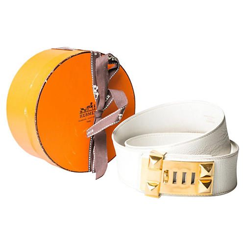 Hermès Collier de Chien White Gold Belt