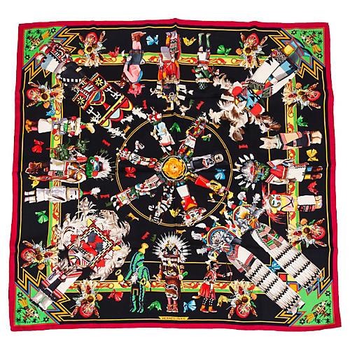 Hermès Rare Kachinas Tribal Silk Scarf