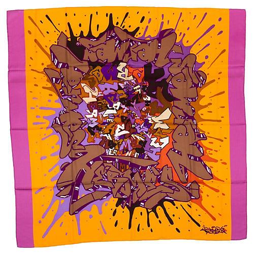 "Hermès Cashmere 54"" Graffiti Scarf Shawl"