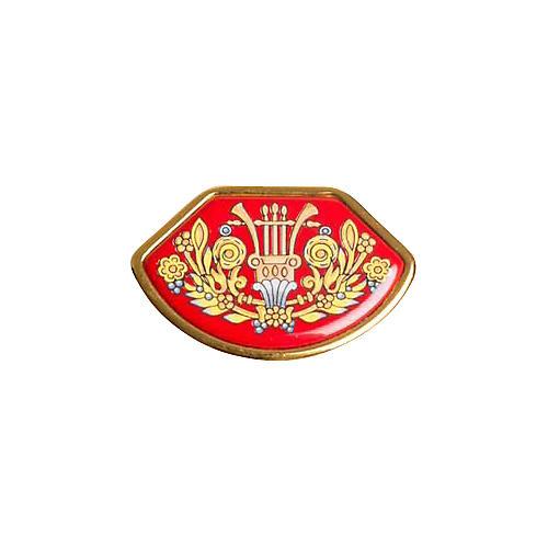 Hermès Red Enamel Harp & Flowers Pin