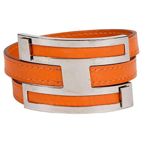 Hermès Double Orange Palladium Bracelet