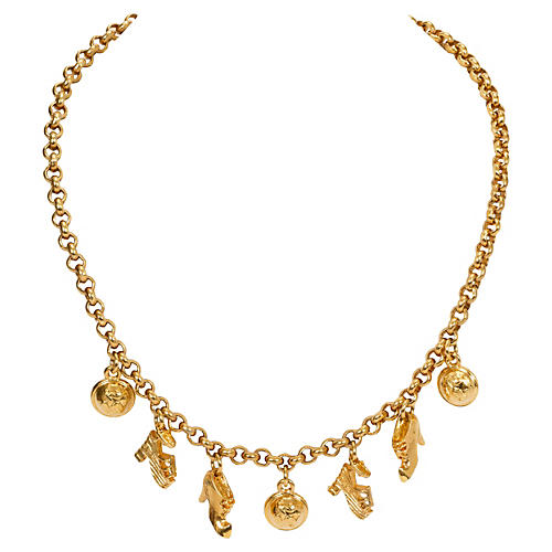 Ferragamo 7-Charm Gold Necklace