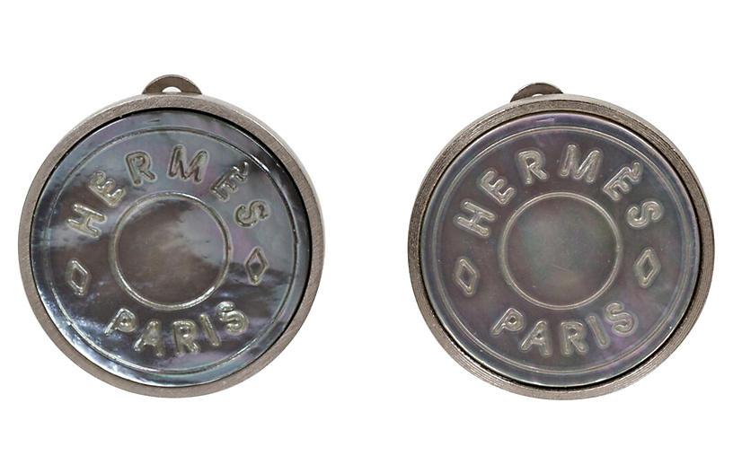 Hermès Gray Mother-of-Pearl Earrings