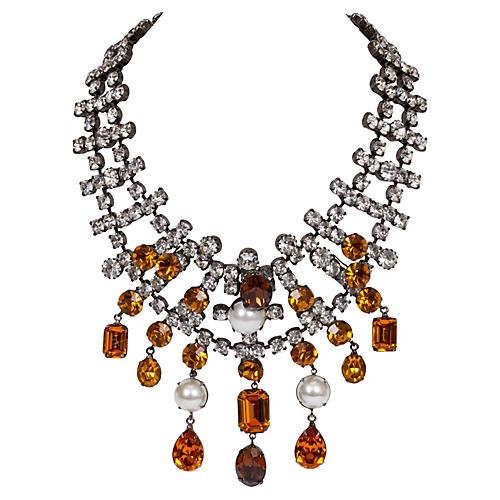 Kenneth Lane Rhinestone Pearl Necklace