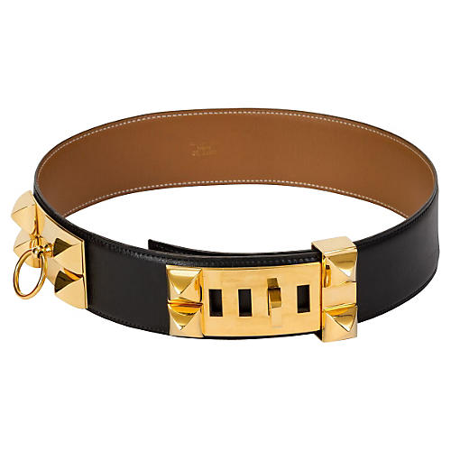 Hermès Black Collier de Chien Belt