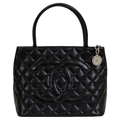 Chanel Black & Silver Caviar Medallion