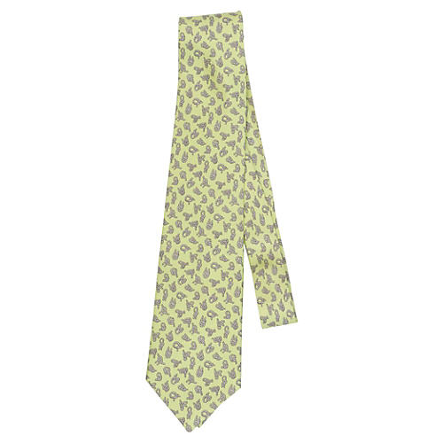 Hermès Light Green Knots Silk Tie