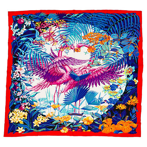 "Hermès Cashmere Flamingo 55"" Shawl"