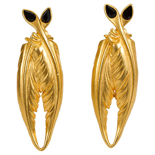 Karl Lagerfeld Gold Feathered Earrings