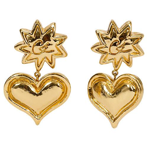 Christian Lacroix Heart Drop Earrings