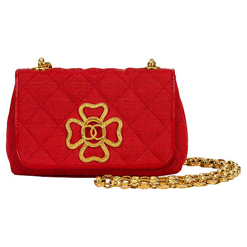 517ae230aa56 1980s Chanel Red Leather   Cotton Bag