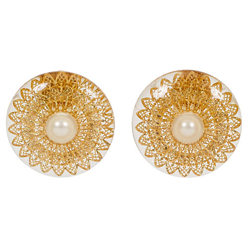 1970s Chanel Lucite Filigree Earrings