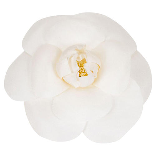 Small Chanel White Silk Camellia Pin